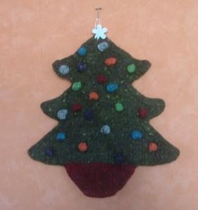 Handknit Christmas Tree Wall hanging.